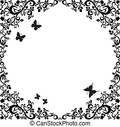 black white beautiful illustration of floral ornament for...