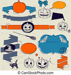 Set of vintage deign elements about Halloween. Vector...