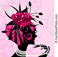 rose girl and pearls - abstract black silhouette of pink...