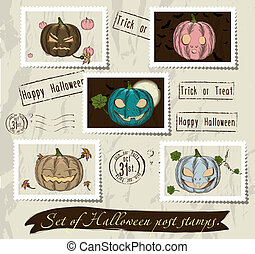 Vintage halloween post stamps set.