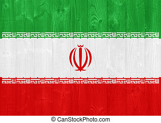 Iran flag - gorgeous Iran flag painted on a wood plank...