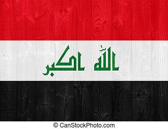 Iraq flag - gorgeous Iraq flag painted on a wood plank...