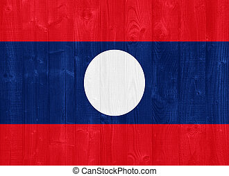 Laos flag - gorgeous Laos flag painted on a wood plank...