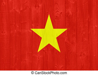 Vietnam flag - gorgeous Vietnam flag painted on a wood plank...