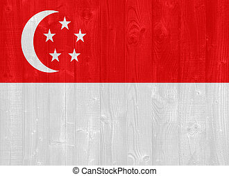 Singapore flag - gorgeous Singapore flag painted on a wood...