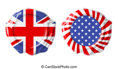 British and USA guarantee seals isolated on white