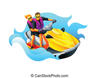 Riding ski jet - Happy couple enjoy riding ski jet in blue...