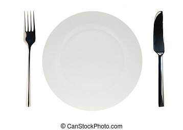 isolated white plate with knife and fork