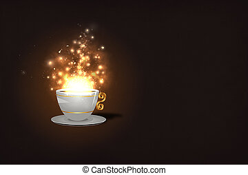Magic coffee - Illustration of Coffee cup and cascade of...