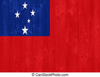 Samoa flag - gorgeous Samoa flag painted on a wood plank...