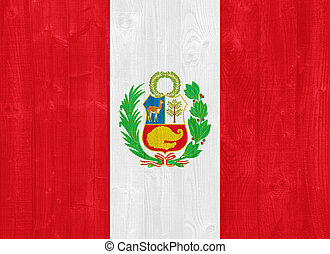 Peru flag - gorgeous Peru flag painted on a wood plank...