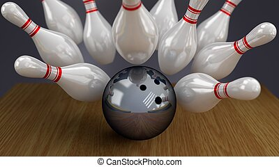 Bowling Ball and Pins on Impact - Bowling Ball and Pins on...