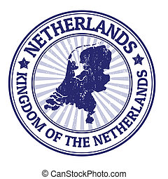 Netherland stamp - Grunge rubber stamp with the name and map...