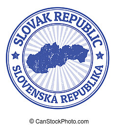 Slovak Republic stamp - Grunge rubber stamp with the name...
