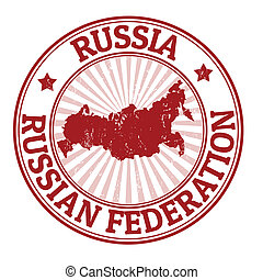 Russia stamp - Grunge rubber stamp with the name and map of...