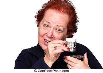 Senior Woman with a Turkish Coffee - Senior woman...