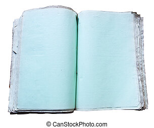 open blank book with empty blue pages