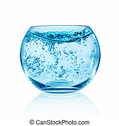 Fish bowl on white background - Empty fish bowl isolated on...