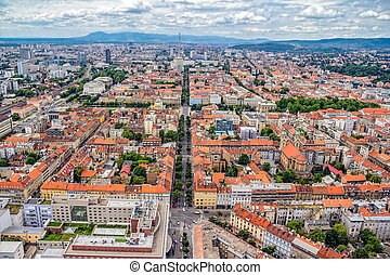 Zagreb - Panorama of Zagreb, Croatia. Helicopter aerial...