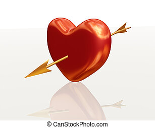 golden red heart with arrow - golden red 3d heart pierced by...