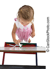Little Girl with easel from top