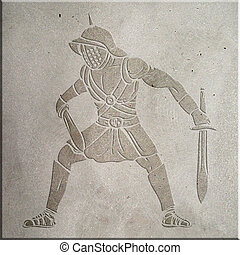 Gladiator - Image of a gladiator carved on concrete wall