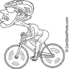 Bicycle Athlete - Line-art caricature of a bicycle athlete