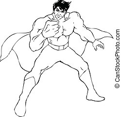 Superhero - Outline illustration of a superhero