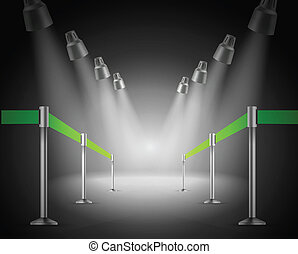 The shined green way entrance. Vector illustration