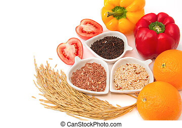Rice varieties, wheat, brown rice, black jasmin rice in...