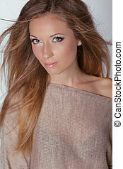 Beautiful Blond Woman Long brown hair Fashion model posing...