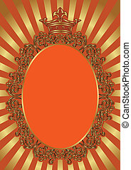 red background with vintage frame and crown