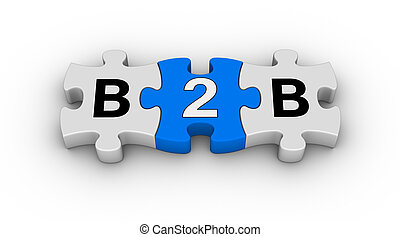 B2B - business to business jigsaw puzzle symbol