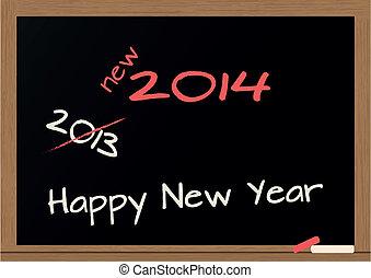 chalkboard 2014 - illustration of chalkboard wuth 2014 happy...