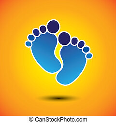 baby's or toddler's foot mark in blue on orange background -...