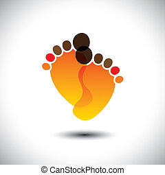 baby's or toddler's transparent foot mark in orange colors -...