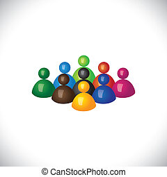 colorful 3d group of diverse & united people icons or signs...
