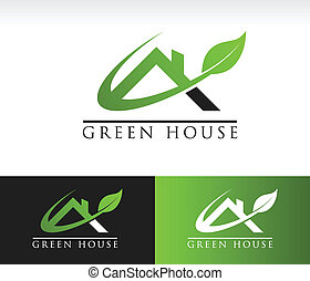 Green House Roof Icon - Green roof house icon with leaf and...