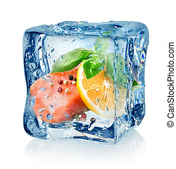 Fillet of salmon in ice cube isolated on a white background