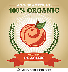 Organic Poster with Peach Icon - Vintage retro organic fruit...