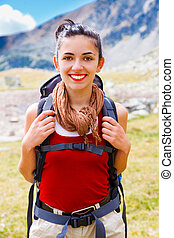 Joyful Alpinist Woman