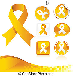 Yellow Awareness Ribbons Kit - Vector set of yellow...
