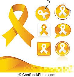 黄色, 認識, リボン, キット