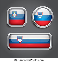 Slovenia flag glass buttons