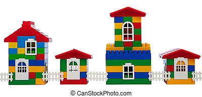 toy colorful  houses isolated on a white background