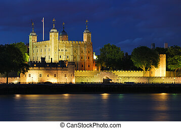 Tower of London illuminated at summer night
