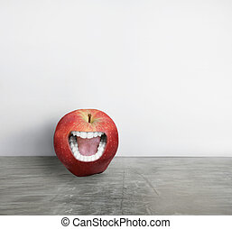 I am different - Artistic creation of a red apple with a...