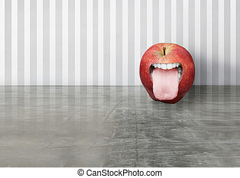 Funny apple - Artistic creation of a red apple with an...
