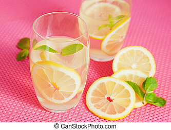 Home-made lemonade - Refreshing lemonade with mint leaves