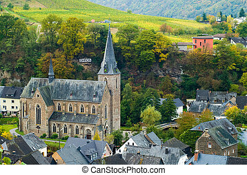 vineyards along the mosel - small village and vineyards...